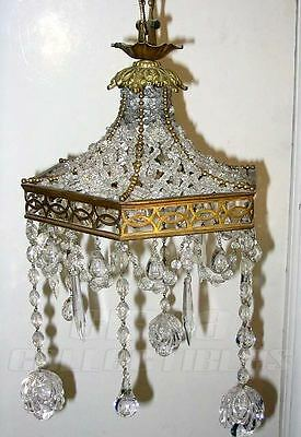 ANTIQUE ITALIAN CRYSTAL & GILDING BRONZE CHANDELIER c1900 ·# ILU028
