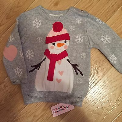 Babies  Christmas Jumper 9-12 mths BNWT Gorgeous Cute Snowman Jumper BNWT
