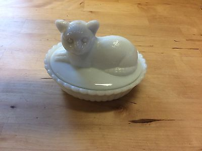 "Cat Covered Dish, Westmoreland 6"" Covered  Dish Collectibles Glass Vintage"
