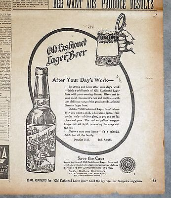 Rare 1911 Kansas City Old Fashioned Lager Beer Newspaper Ad