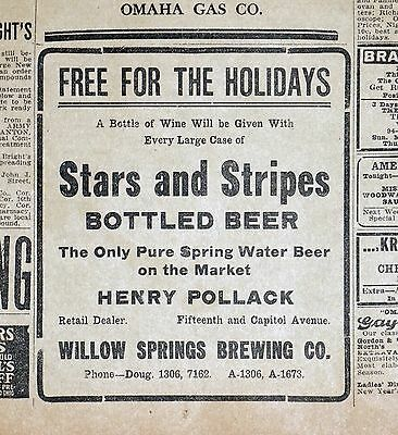 Rare 1911 Omaha Bee Stars and Stripes Beer Newspaper Ad - Willow Springs Brewing