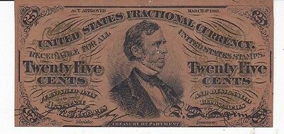 U.s.fractional Currency-.25 Cents. March 1863
