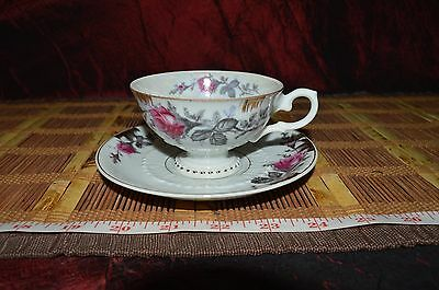 Lefton China Pink Roses and Leaf Cup and Saucer
