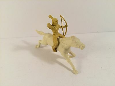 Marx 1950's 45mm Fort Apache Indian ridding bareback with bow on horse