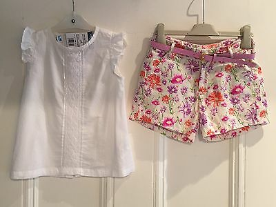 Cbaranga Girls Outfit Set Blouse Top White Shorts Floral 5 - 6 Y New Bnwt