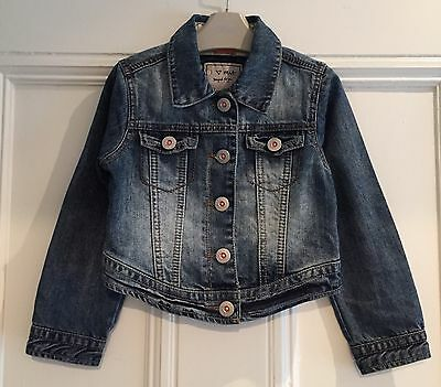 Next Girls Blue Casual Faded Distressed Denim Jacket Coat Top 3 - 4 Yr Worn Once