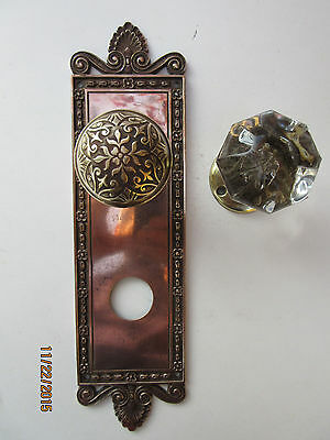 Antique Door Knobs With Back Plate Solid Brass Circa 1890