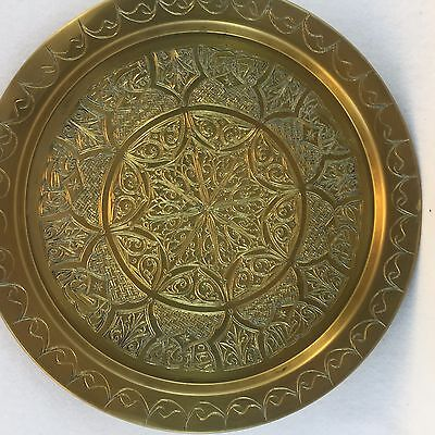Antique Persian Middle Eastern Solid Brass Tray