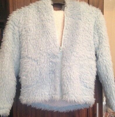 M and Co Turquoise Fluffy Hooded Jacket Age 7-8