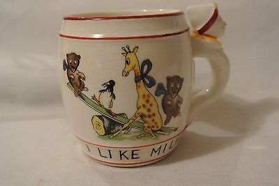 "Vintage 1950's Childs Cup""  w/ Clown on the Handle"