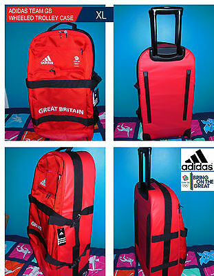 Adidas Team Gb Issue -Travelling To Rio 2016 - Athlete Red Wheeled Trolley Case