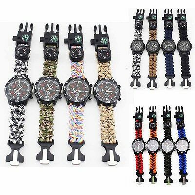 Survival Watch Bracelet Compass Flint Fire Starter Paracord Thermometer Whistle