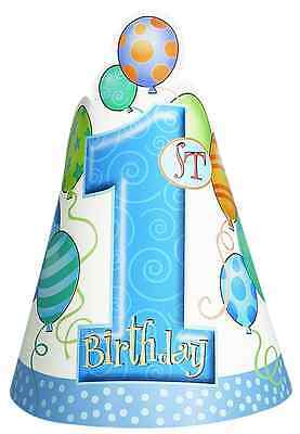 Blue Balloons 1st Birthday Party Prop Hats, Pack of 8 FAST FREE DELIVERY