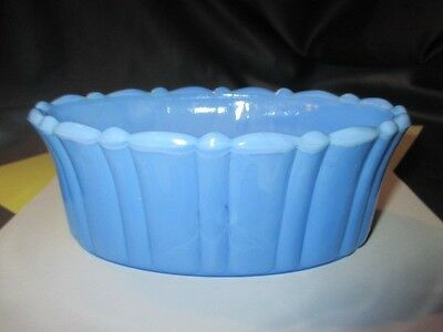 Akro Agate Art Deco Opaque Depression Glass Oval Bowl Dish Delphite Blue