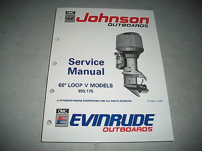 1991 Evinrude/johnson Outboards 150 175  Models Service Manual Excellent Clean