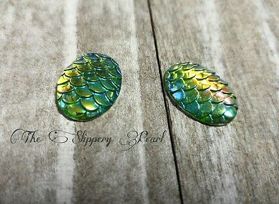 Mermaid Scale Cabochons 18x13 Oval Flat Domed Dragon Scale Cabochons Fairy Tale