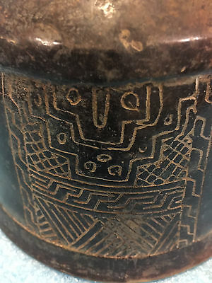 "Pre Columbian Olmec Mayan Incised Black Copador  4.5"" X  6.5""  Over 2,000 Yrs."