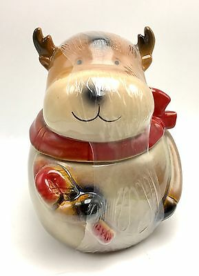 Reindeer Canister Cookie Jar Ceramic Christmas Decor 7 Inch Holidays New