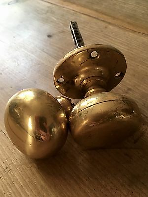 Brass Door Knobs Reclaimed Near Pair