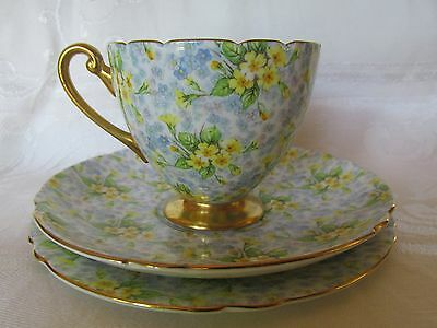 Vintage Shelley Primrose Chintz Cup Saucer Plate or Trio Teacup set