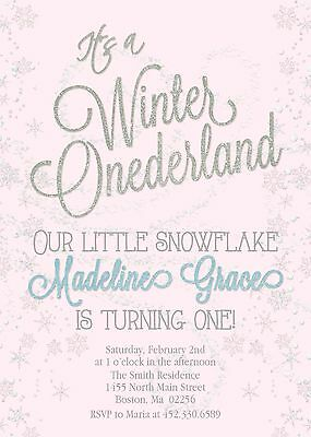 Pink Silver Winter Onederland Birthday Invitation, snowflake, glitter