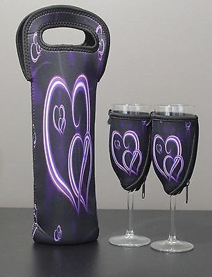 Purple Heart bottle carrier and champagne glass coolers