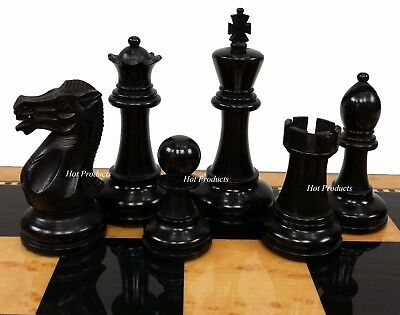 "4 QUEENS Black Staunton Wood 3 3/4"" King Classic Chess Men Set - NO BOARD"