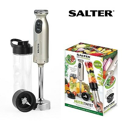 Salter NutriTwist SMOOTHIE MAKER Fruit Soup HAND BLENDER & Sports Bottle EK2187