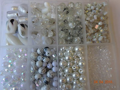 Job Lot Box full of Clear White Beads Glass Acrylic Assorted Shapes/Sizes
