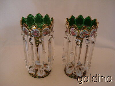 Great Pair Victorian Emerald Green HP Floral Bohemian Enamelled Lusters