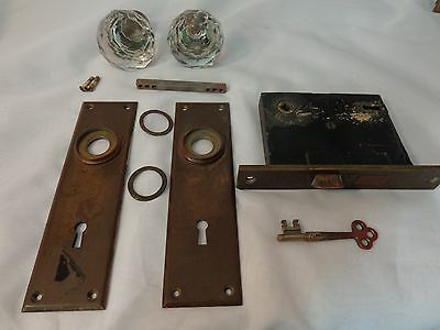 Antique Interior Door Lock Set Crystal Knobs Complete With Key Norwalk Brass a1