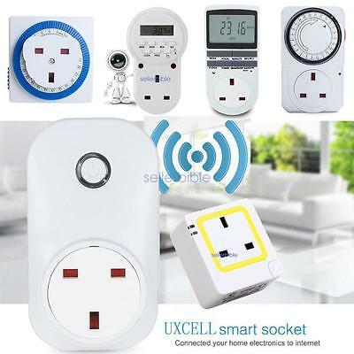 Timer WIFI Sockets Mains Plug-in Remote Control Digital LCD 12/24 Hour 7 Day UK