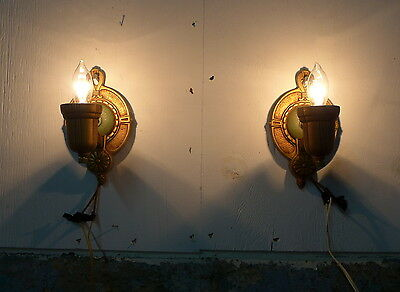 Pair of Working Antique 1920's  Art Deco Wall Sconce Light Fixture