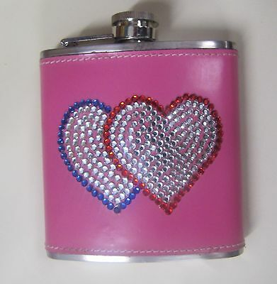 Leather Hot Pink 6oz Flask Crystal Bling Hearts Brial Party Stainless Steel