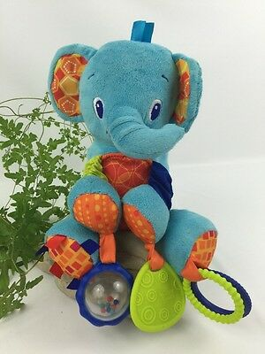 Bright Stars Elephant Baby Toys Rattle Chew Colorful Play Eye Coordination