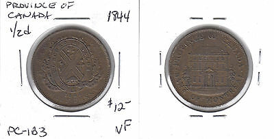 Province of Canada lot of 7 different half penny tokens 1844-1857