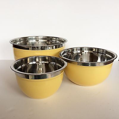 Vintage Mid-Century Set of 3 Nesting Metal Mixing Bowls Yellow Coating Outside