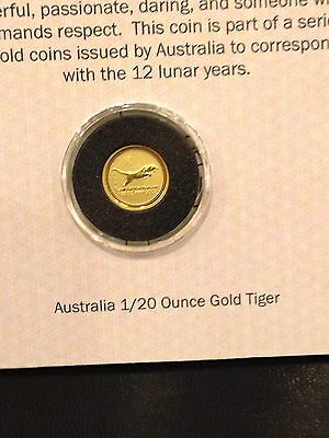 1998 Australia 5 Dollar Lunar Year of Tiger Gold Coin 1/20 Oz UNC . Low Mintage