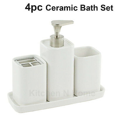 4pc Bathroom Accessories Set, Lotion Pump, Soap Dish, Toothbrush Holder, Tumbler