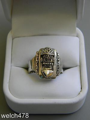 Very Rare Vintage Mayan Men's 925 Sterling Silver Mexican Biker's Ring Sz.11