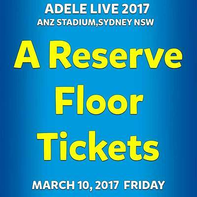2x Adele Sydney A Reserve Floor Seated Concert Tickets 10th March 2017