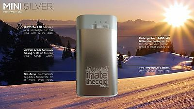 iHateTheCold.com Mini Silver Hand Warmer. Hours of Heat! No chemicals!