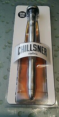 "Beer chillsner by Corkcicle stainless steel drink thru 9"" bottle NEW in package"