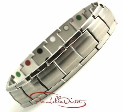 Ultimate Silver Double 5In1 Stainless Steel Bio Power Magnetic Energy Bracelet