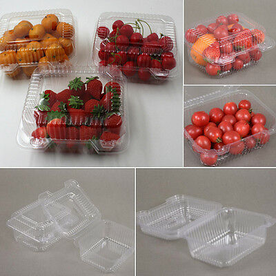 500ml Disposable Plastic Clear Box Practical Container Flat Lid Salad10-50 Pcs