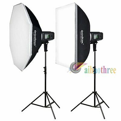 2Pcs Godox AD600B 600W TTL 1/8000s Bowens Mount Studio Flash Strobe Light Kits
