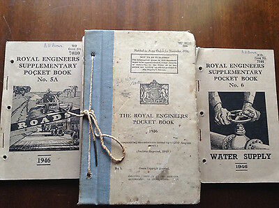 WW2 British Army Royal Engineers Pocket Book, 2 other RE manuals 1946 lot