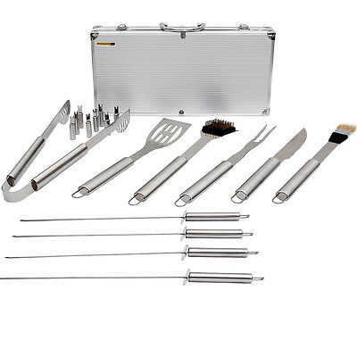 Set Bbq Grill Utensils Stainless Steel Barbecue Tools Case Outdoor Cooking 17Pcs
