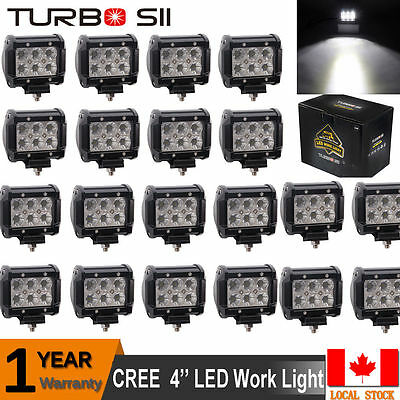20X Cree 4 Inch Pods Flood Led Work light Offroad Driving Lamps 4WD Truck Cube
