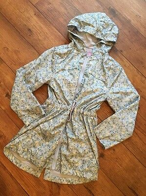 BNWT Floral Blue Raincoat Lined Drawstring Waist Hooded Age 9-10 Years Pretty